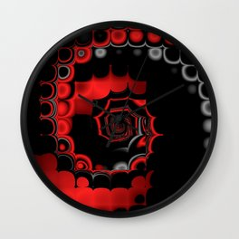 TGS Fractal Abstract in Red and Black Wall Clock