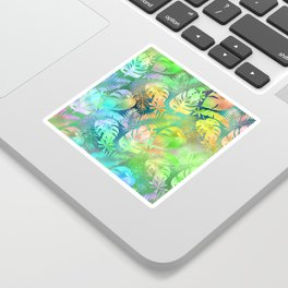 Rainbow Colored Iridescent Fantasy Leaf Pattern Sticker