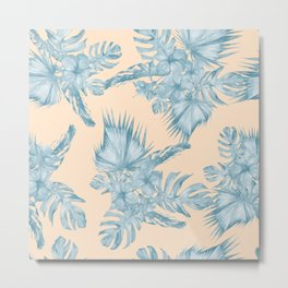 Tropical Flowers and Leaves Blue on Peach Coral Metal Print