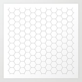 Honeycomb black and white pattern Art Print