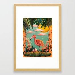 Digital Illustration with Flamingo Framed Art Print