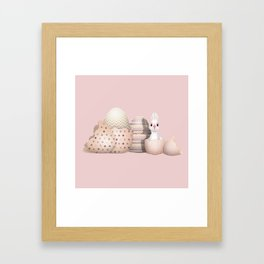 Kawaii Easter Bunny hatching from Golden Colored Easter Eggs - pink background Framed Art Print