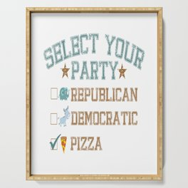 choose your party pizza republicans democrats Serving Tray