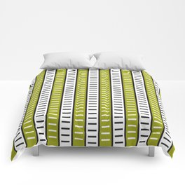 Stripes Pattern 203 (green stripes) Comforters