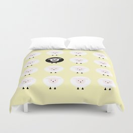 Black sheep on a yellow tale Duvet Cover