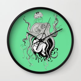 Octopus and jellyfish dreams Wall Clock