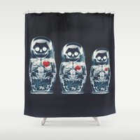 ali Shower Curtains featuring Nesting Doll X-Ray by Ali GULEC