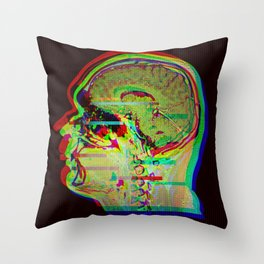 Brain Xray Glitch Art Throw Pillow
