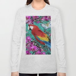 TROPICAL ORCHIDS RED MACAW PARROT JUNGLE ART Long Sleeve T-shirt