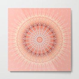 Coral Geometric Mandala Metal Print