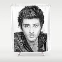 zayn malik Shower Curtains featuring Zayn Malik Drawing by Emilia Apreda
