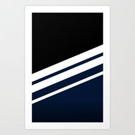 Black Striped Navy Art Print