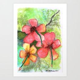 Hibiscus Be Side Myself Art Print