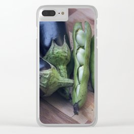Eggplants and beans go well together Clear iPhone Case