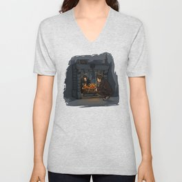 The Witch in the Fireplace Unisex V-Neck