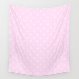 White on Pink Lace Pink Snowflakes Wall Tapestry