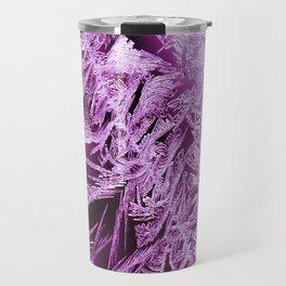 White Ice Crystals On A Purple Background #decor #society6 #homedecor Travel Mug