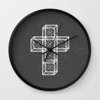cross Wall Clocks featuring Cross by Dizzy Moments