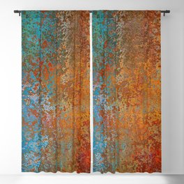 Vintage Rust, Copper and Blue Blackout Curtain