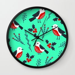 Christmas Holidays Bird Pattern With Holly Sprigs Wall Clock
