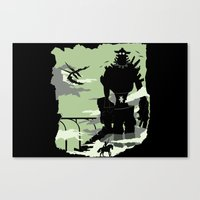 shadow of the colossus Canvas Prints featuring Silhouette of the Colossus by Piercek25