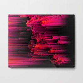 Burnout - Glitch Abstract Pixel Art Metal Print