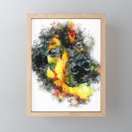 dog 2 splatter watercolor Framed Mini Art Print
