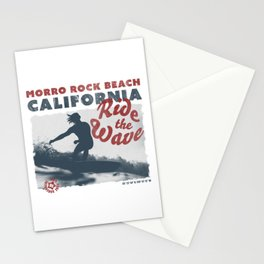Ride the Wave - California - Morro Rock Beach - Surfing Stationery Cards