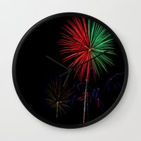 fireworks Wall Clocks featuring Fireworks by Warren Benberry Photography / o.d.Imagez