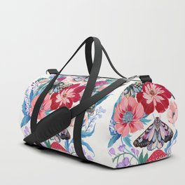 Floral moth painting Duffle Bag