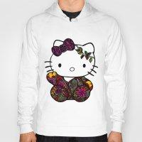 batik Hoodies featuring Batik Kitty Doodle Art by martywoodskk