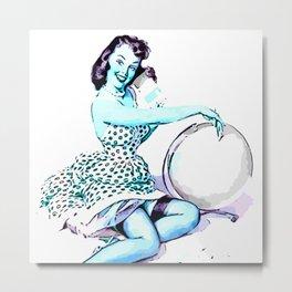 Pin Up Girl Cartoon Elvgren blue Metal Print
