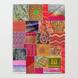 Boho Sari Patchwork Quilt Poster