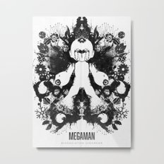 Megaman Geek Ink Blot Test Metal Print