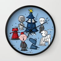 charlie brown Wall Clocks featuring A Charlie Who Christmas by fishbiscuit
