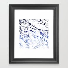 Modern white marble blue ombre navy blue watercolor gradient fade Framed Art Print