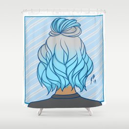 Blue Hair Shower Curtain