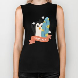 Penguin Surfer from Virginia T-Shirt for all Ages Biker Tank