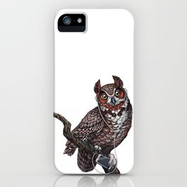 Great Horned Owl with Headphones iPhone Case