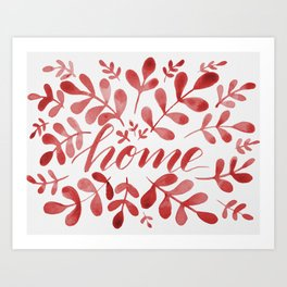 Watercolor home foliage – red Art Print