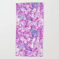 HIBISCUS FTW Tropical Pink Floral Beach Towel