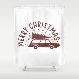Merry Christmas Station Wagon Shower Curtain