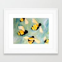 bees Framed Art Prints featuring Bees by Claire Whitehead