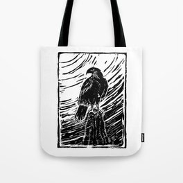 Harris Hawk Woodcut Tote Bag