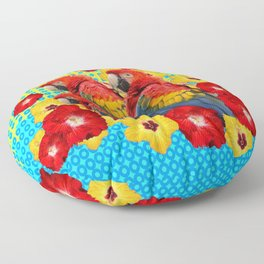 YELLOW-BLUE  FLORAL MACAWS & RED YELLOW HIBISCUS Floor Pillow