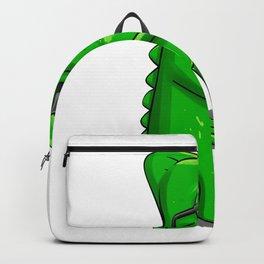 Chameleon saxophonist  cartoon illustration Backpack