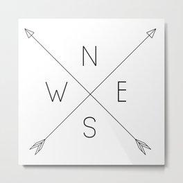 Geometric Minimal Compass Metal Print