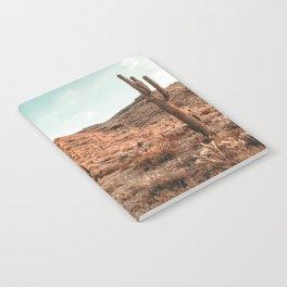 Saguaro Mountain // Vintage Desert Landscape Cactus Photography Teal Blue Sky Southwestern Style Notebook