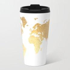 Textured Gold Map Travel Mug