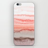 coral iPhone & iPod Skins featuring WITHIN THE TIDES CORAL DAWN by Monika Strigel
